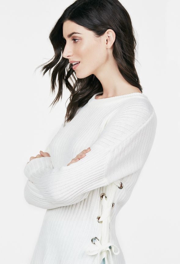 Side Lace Up Sweater in Ivory - Get great deals at JustFab 9df15f3df