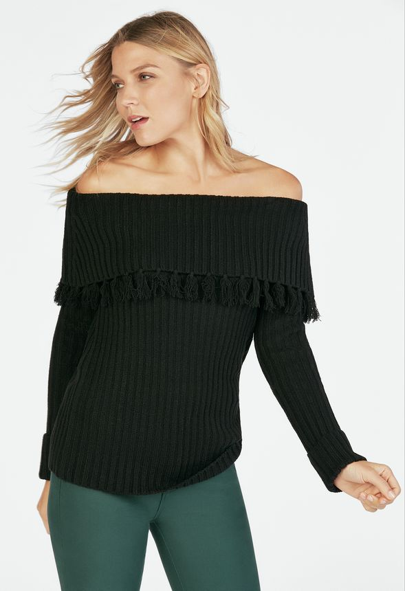 d5a9d38282e05 Off Shoulder Sweater With Fringe in Black - Get great deals at JustFab