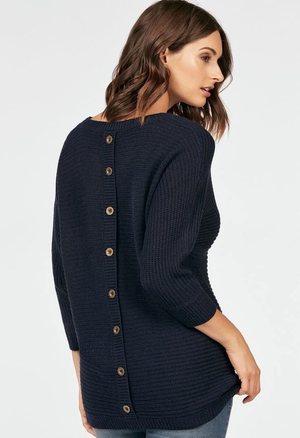 button back sweater in navy get great deals at justfab