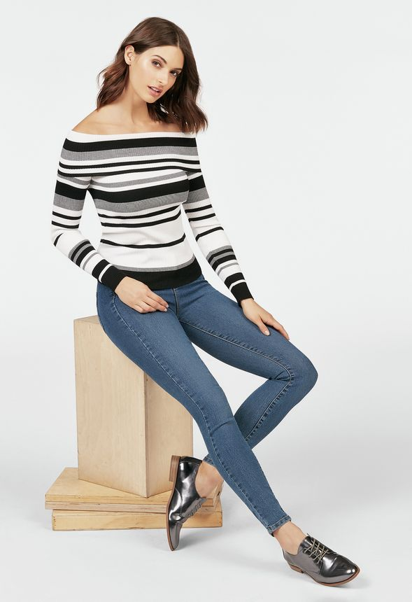 Off Shoulder Stripe Sweater in BLACK MULTI - Get great deals at JustFab f3983fa54