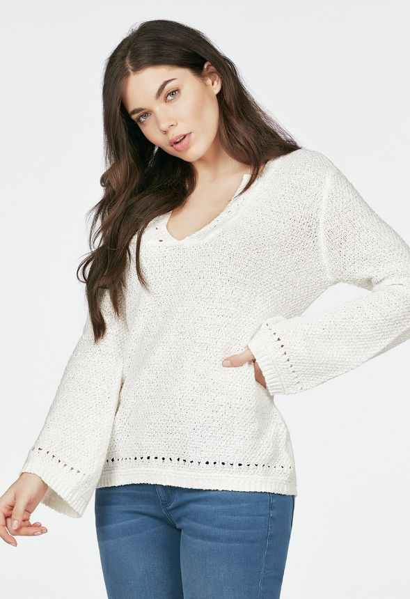 3ab2d0dafd3 Perforated Bell Sleeve Sweater in White - Get great deals at JustFab