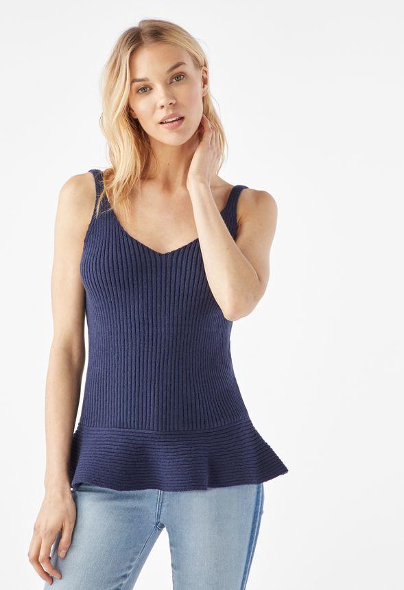0edf6b3f Sleeveless Peplum Sweater in DARK NAVY - Get great deals at JustFab