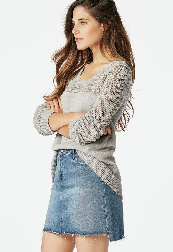 c7d2ad59120fe7 Netting Stitch Pullover in light heather grey - Get great deals at JustFab
