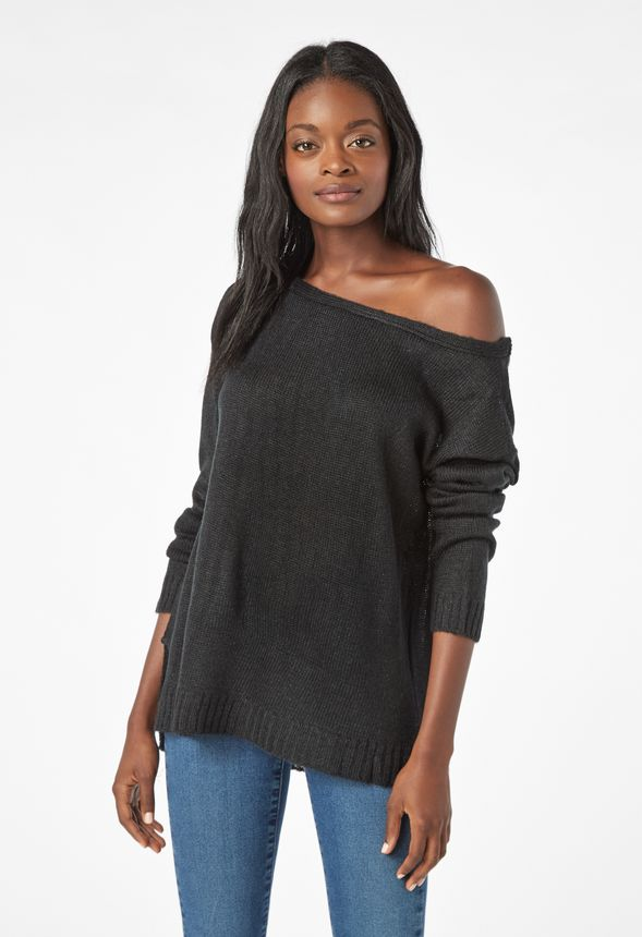 45996240e3f3f Boatneck Sweater in Black - Get great deals at JustFab