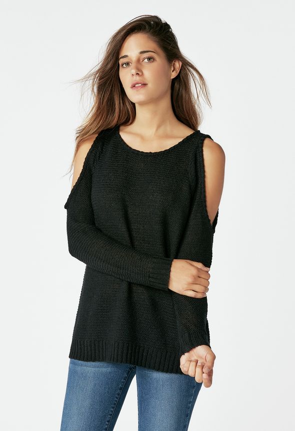 58a2e7f1dd612 Cold Shoulder Pullover in Black - Get great deals at JustFab
