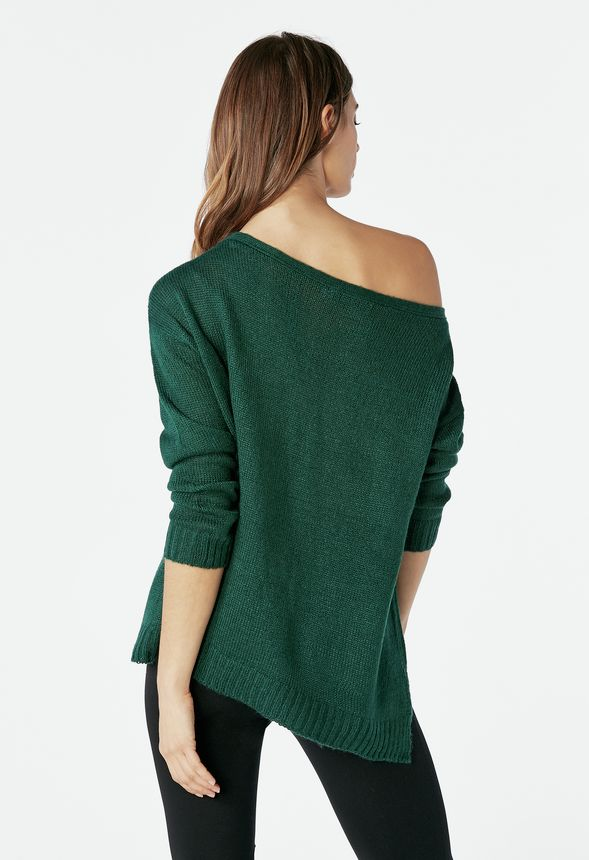 Off Shoulder Pullover Sweater in winter green - Get great deals at ... 8f5eed140