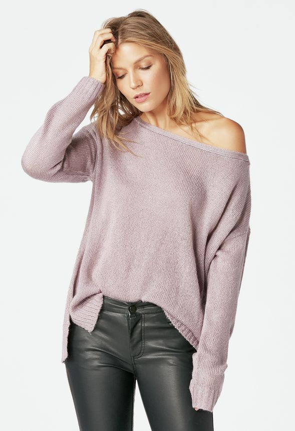 Off Shoulder Pullover Sweater in dusty purple - Get great deals at JustFab 6369bb381