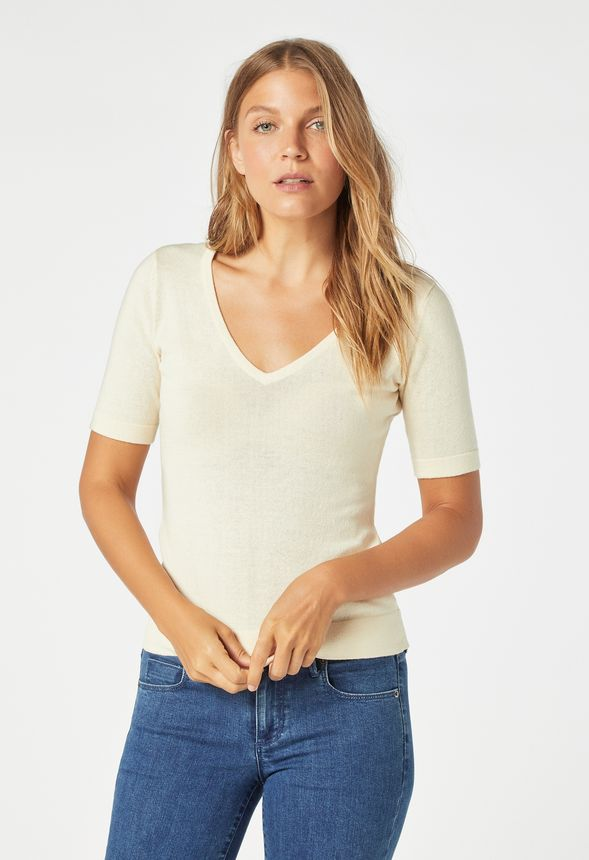 bc67a33f993d9d Fitted Pullover Sweater in ecru - Get great deals at JustFab
