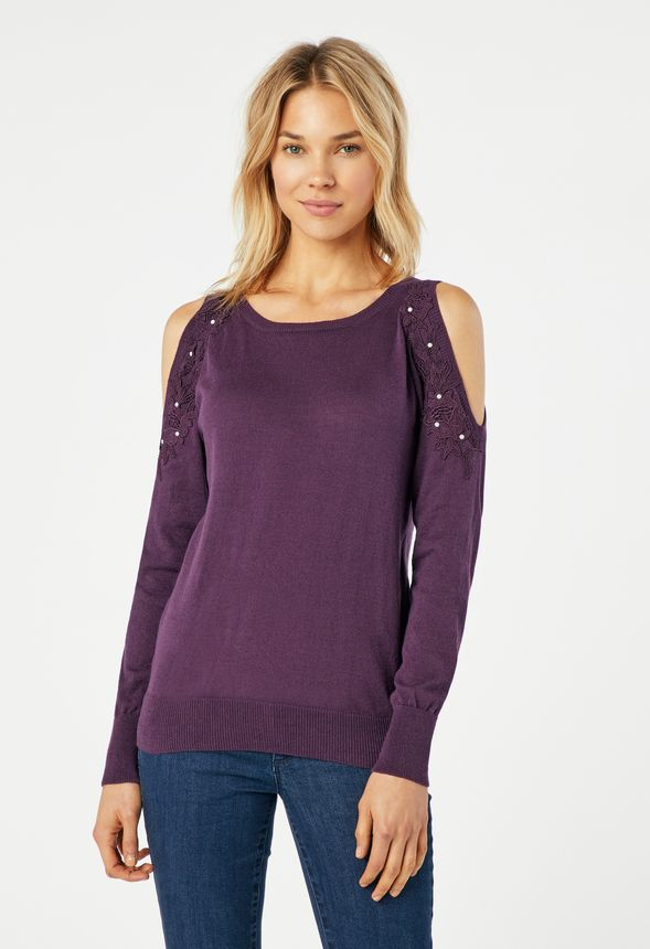 a23c732ace7bb Embellished Pullover in deep plum - Get great deals at JustFab