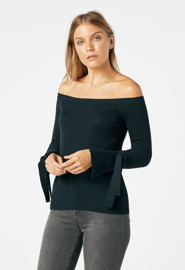 27450915575b8 Off Shoulder Pullover Sweater in Black - Get great deals at JustFab