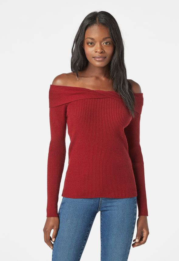1956603acde94 Off Shoulder Rib Sweater in CABERNET - Get great deals at JustFab