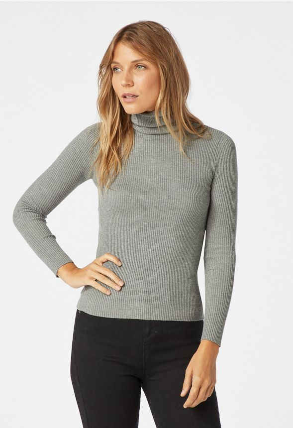 8b61e2508f470a Slim Turtle Neck Sweater in heather grey - Get great deals at JustFab