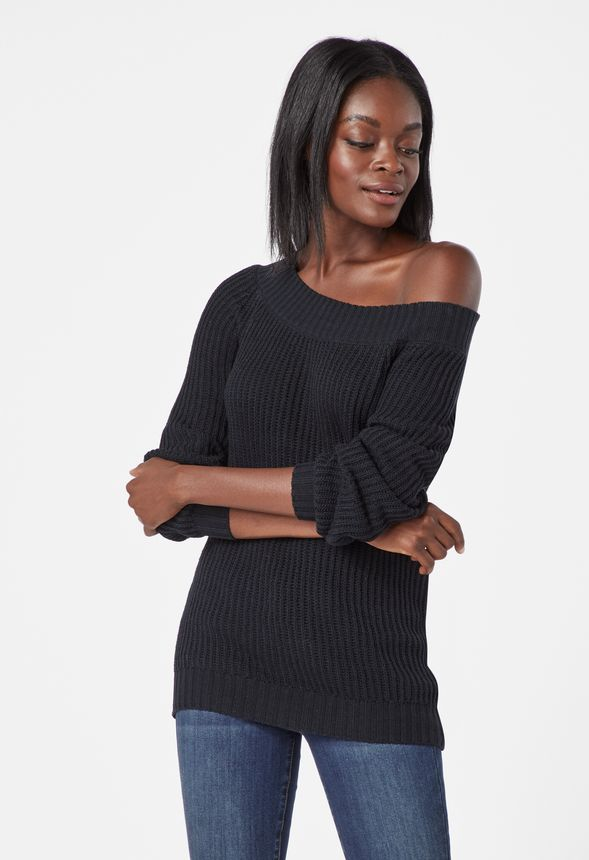 c7262f437ad6c Slouchy Off Shoulder Pullover in Black - Get great deals at JustFab