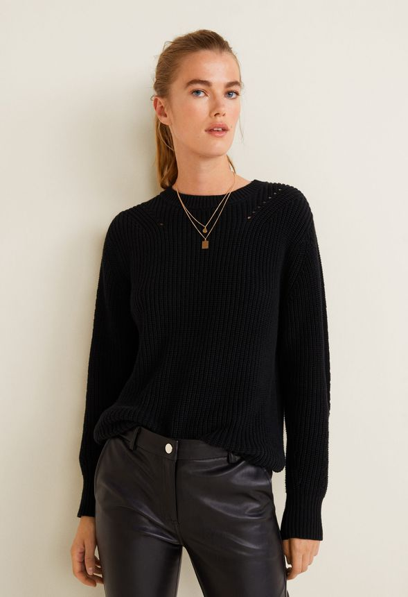 665a793275783 Cable Knit Pullover Sweater in Black - Get great deals at JustFab