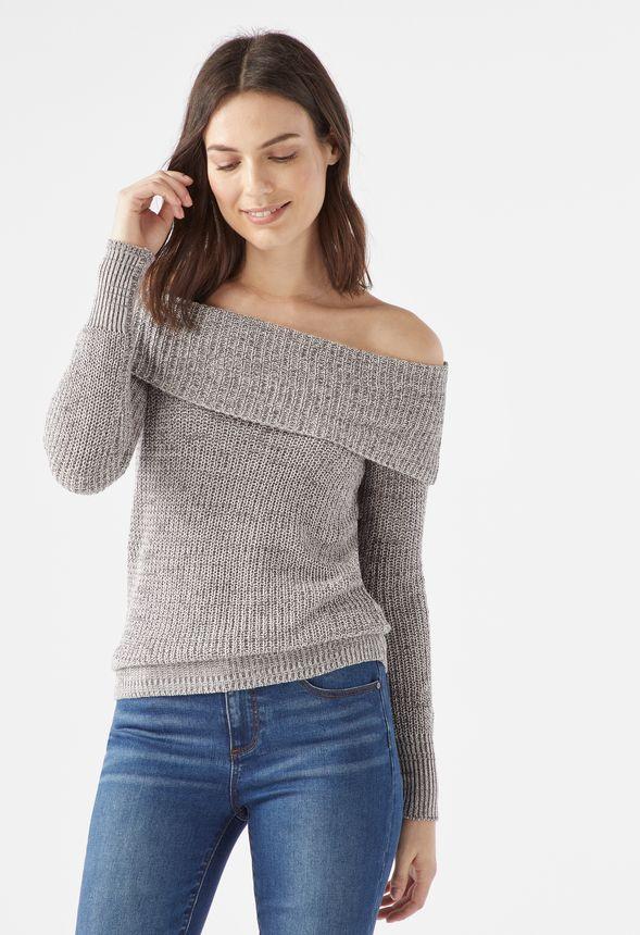 477d760c73af8 Off Shoulder Sweater in Grey Multi - Get great deals at JustFab