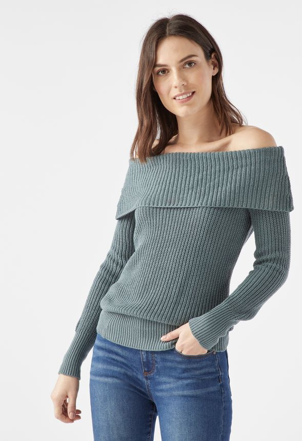 2042962d5527a Off Shoulder Sweater in goblin blue - Get great deals at JustFab