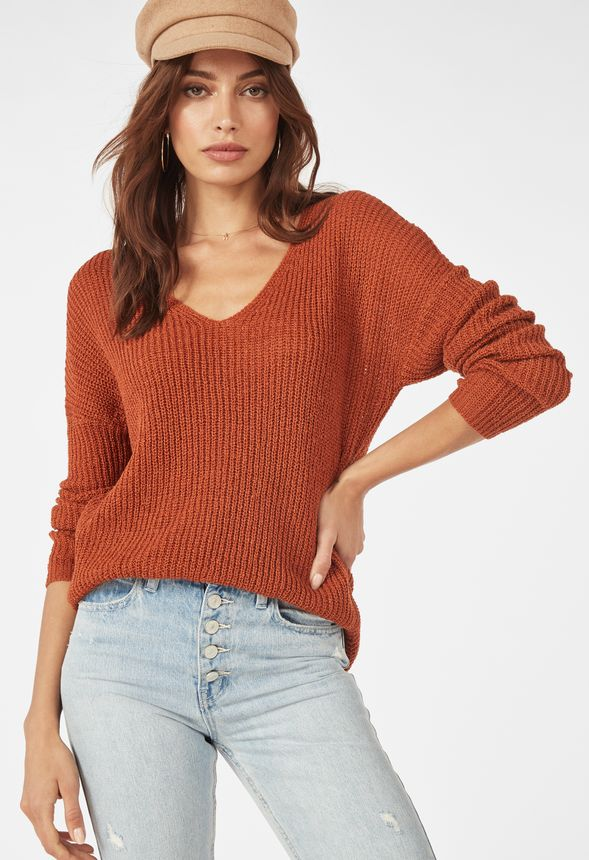 Light Weight V Neck Sweater by Justfab