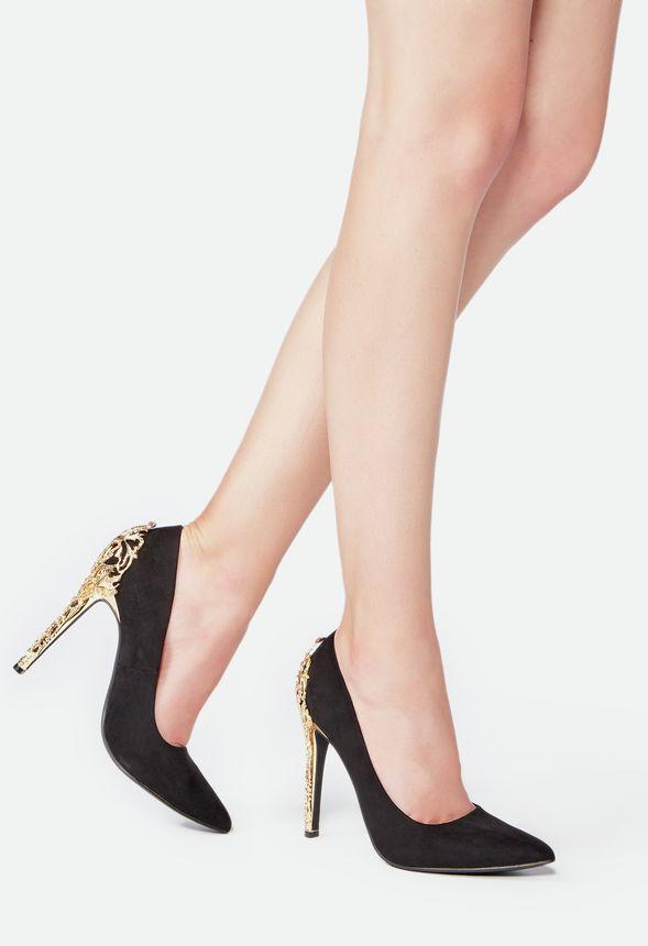 3303c490e4be Sarina Embellished Heel Pump in Black - Get great deals at JustFab