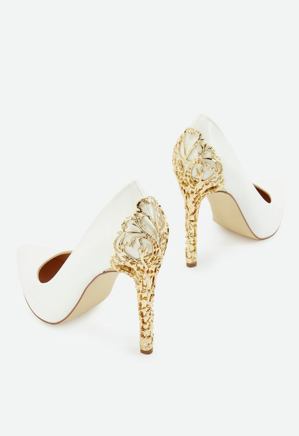 White Heels With Gold