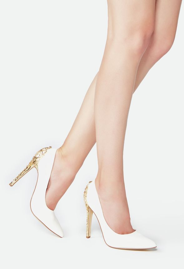 1402fb090dd0 Sarina Embellished Heel Pump in White - Get great deals at JustFab