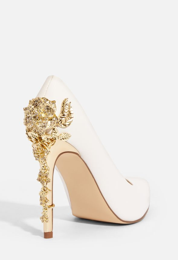 803a8b8cfb9887 Eve Metallic Heel Pump in White - Get great deals at JustFab