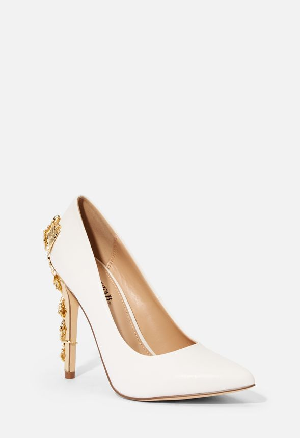 e246a9813a9f Eve Metallic Heel Pump in White - Get great deals at JustFab