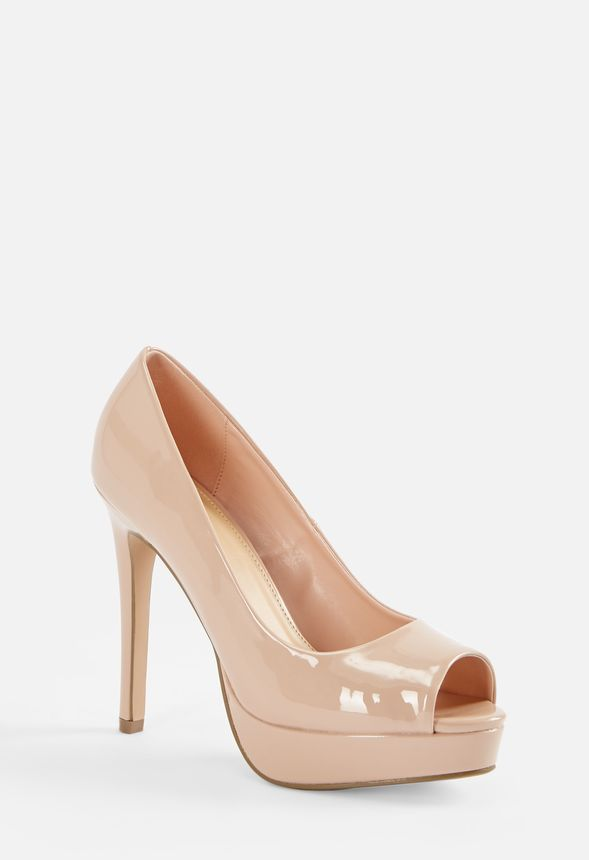 90f7d93f3b1 High Society Open Toe Platform Pump in NUDE PATENT - Get great deals ...