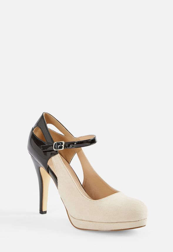 4d492f27db Robbie Cutout Mary-Jane Pump in Black/Nude - Get great deals at JustFab