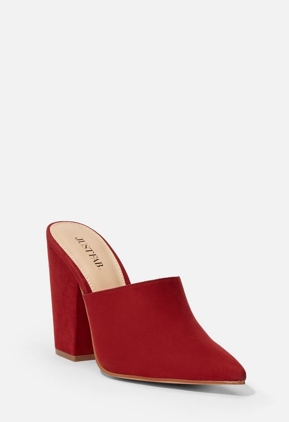 best fashion styles reliable quality Angie Block Heel Mule in Brick Red - Get great deals at JustFab