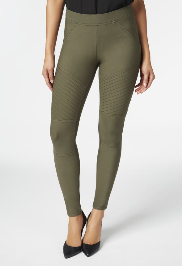 c2ae2b565cb15 Stitched Moto Leggings in dark olive - Get great deals at JustFab