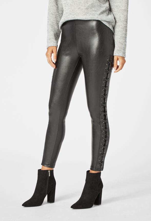 149cb7943b Faux Leather Lace-Up Leggings in Black - Get great deals at JustFab