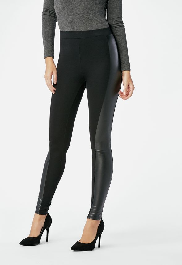 0a1394a2d4435 Faux Leather Side Ponte Leggings in Black - Get great deals at JustFab