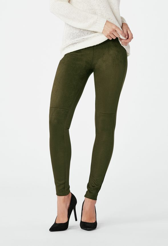 Faux Suede Leggings in ARMY GREEN - Get great deals at JustFab dd75bb1e9