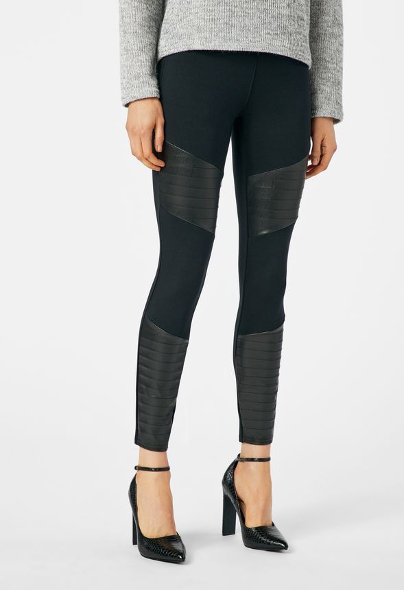 9fc8148cb3f Faux Leather And Ponte Mix Moto Leggings in Black - Get great deals at  JustFab