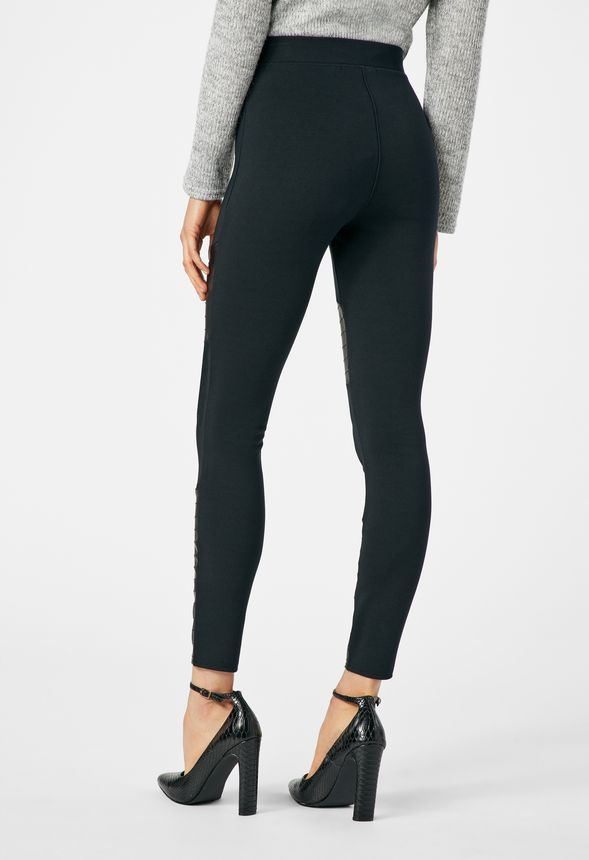 bfd11883989 Faux Leather And Ponte Mix Moto Leggings in Black - Get great deals ...