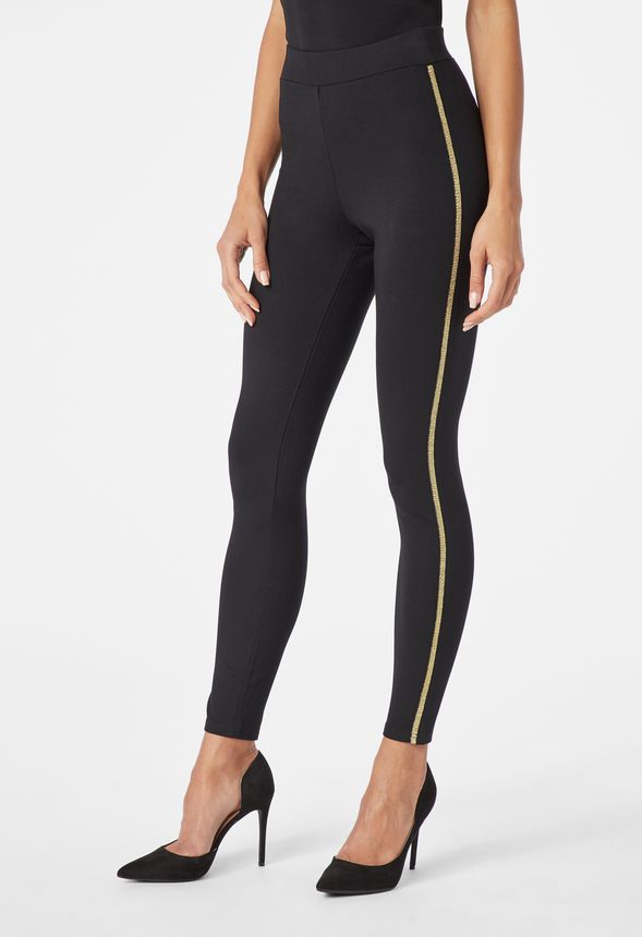 e4a7c2077ae42 Side Stripe Leggings in Black / Gold - Get great deals at JustFab