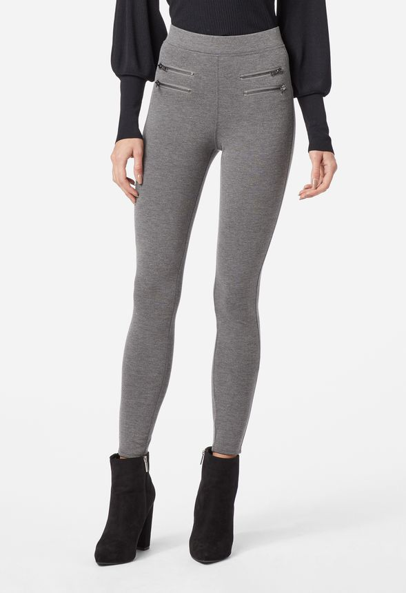 03aecdb73ca8d Highwaisted Zipper Leggings in Charcoal - Get great deals at JustFab