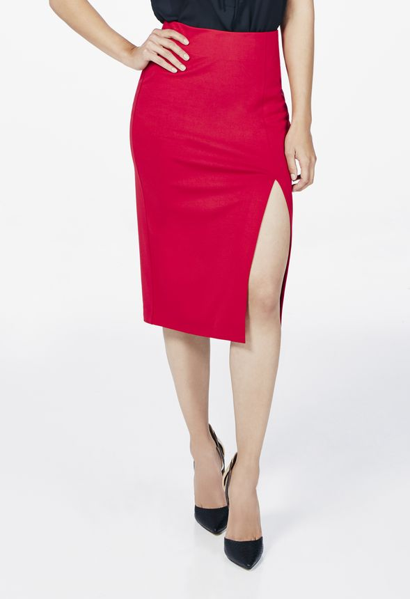 c63f215bb12 High Slit Pencil Skirt in TIBETAN RED - Get great deals at JustFab
