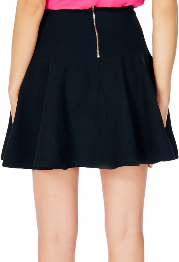 fit and flare knee length skirt in black get great deals