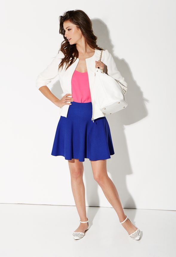 fit and flare knee length skirt in cobalt get great