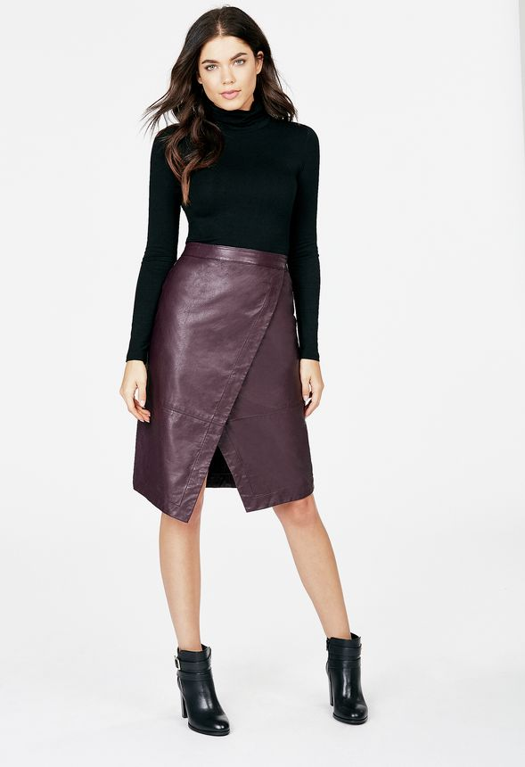 1bddc5298 Faux Leather Wrap Skirt in Faux Leather Wrap Skirt - Get great deals ...