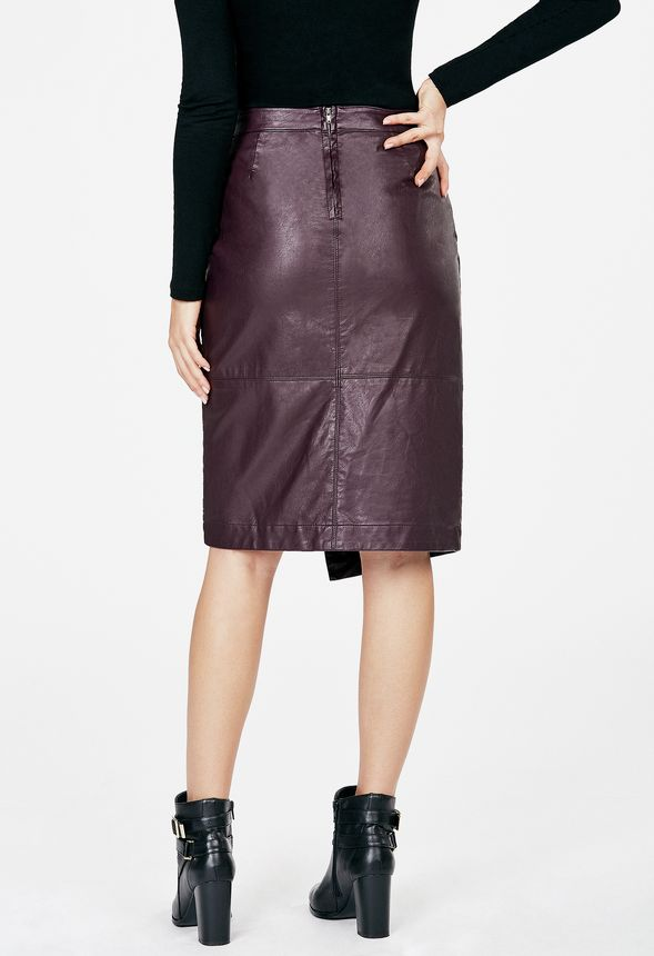 Faux Leather Wrap Skirt in Faux Leather Wrap Skirt - Get great ...
