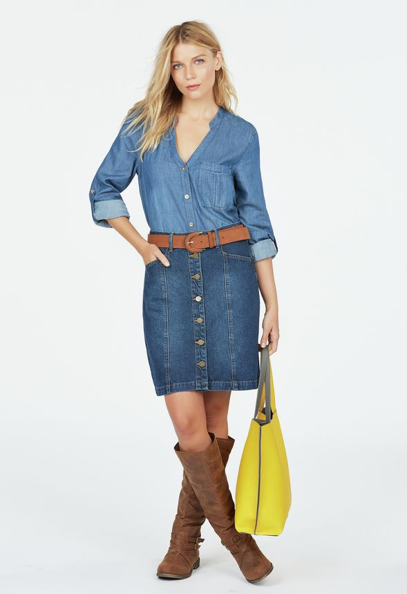 4e1964ed9f7 Button Front Denim Skirt in roman dusk - Get great deals at JustFab