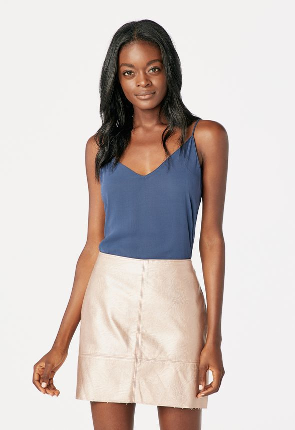 6e971f5cc1fc Metallic Faux Leather Mini Skirt in Rose Gold - Get great deals at JustFab
