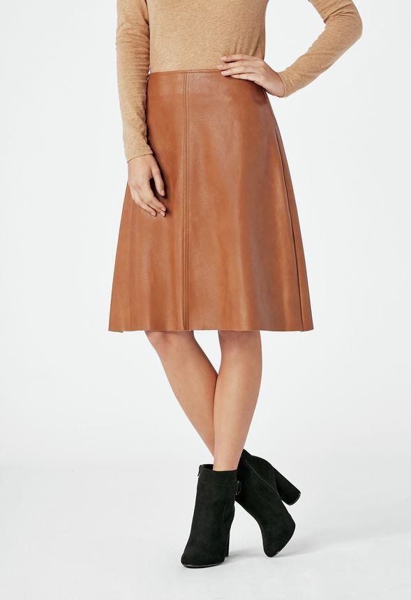 8ca233c9b7 Faux Leather Midi Skirt in Cognac - Get great deals at JustFab