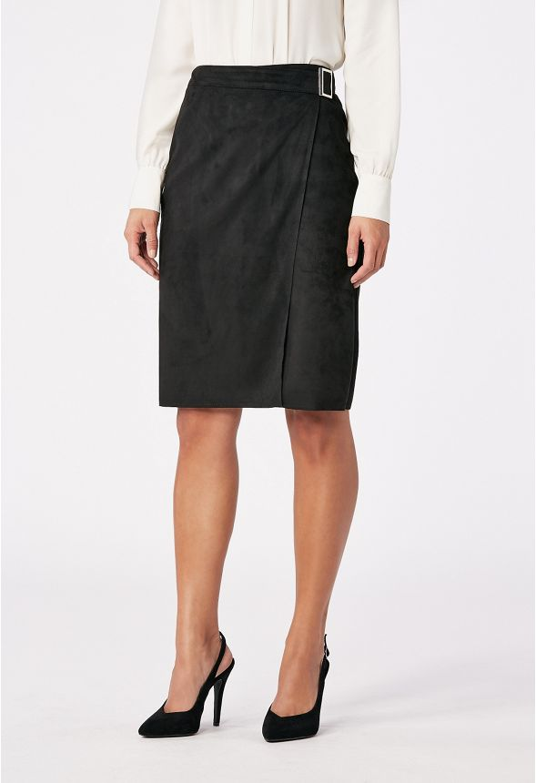 fc4cd09f7 Faux Suede Wrap Skirt in Black - Get great deals at JustFab