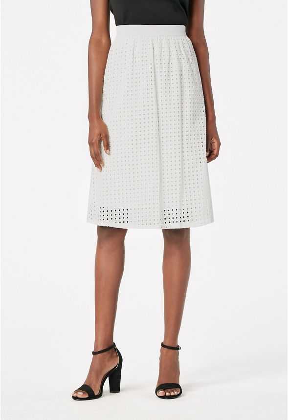 832d080c20f5 Eyelet Midi Skirt in White - Get great deals at JustFab