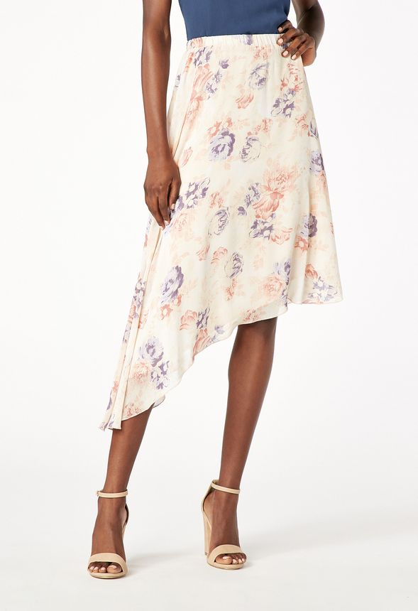 Printed Asymmetrical Skirt in Ecru Multi - Get great deals at JustFab