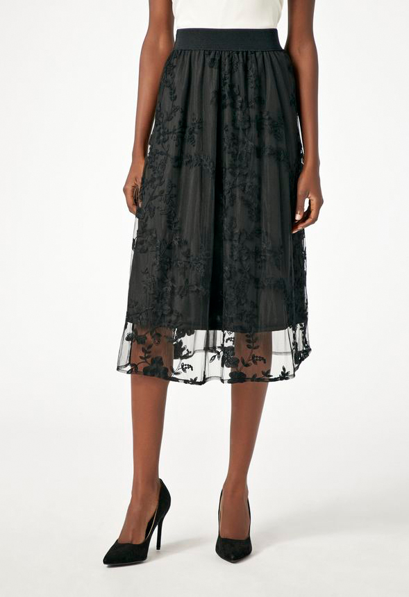 3b743268a0 Floral Embroidered Midi Skirt in Black - Get great deals at JustFab