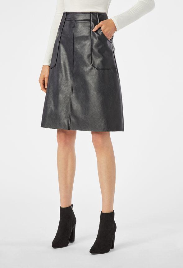 c3d0c9fcdb4 Faux Leather Midi Skirt in Black - Get great deals at JustFab